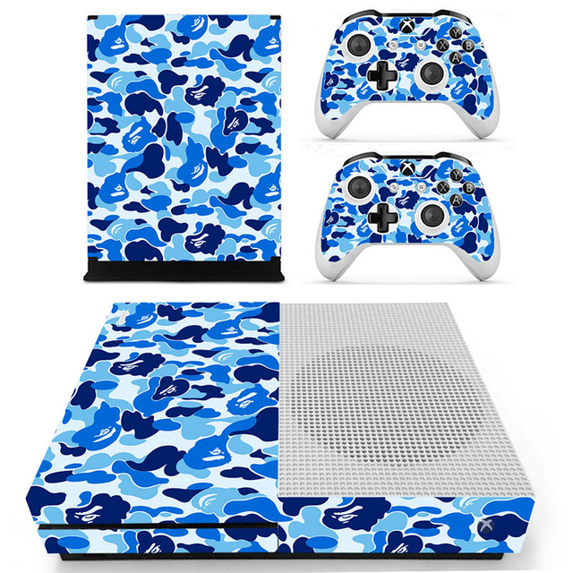 Decal Skin Sticker for Xbox One S Slim – Blue Camouflage