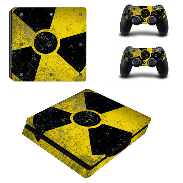 Skin Sticker for PS4 Slim – Warning Radioactive